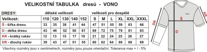 Velikostní tabulka dresů VONO