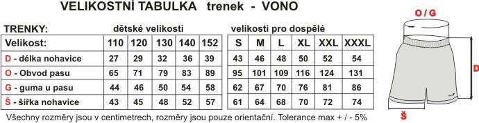 Velikostní tabulka fotbalových trenek