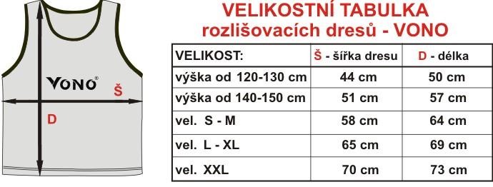 Velikostní tabulka rozlišovacích dresů